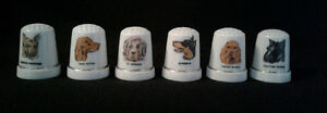 SET 6 PORCELAIN DOG THEMED THIMBLES IN ORIGINAL BOX
