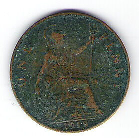 Coin 1919 Great Britain 1 Cent Penny Kingston Kingston Area image 2