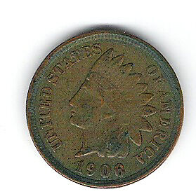 Coin 1906 USA 1 Cent Penny
