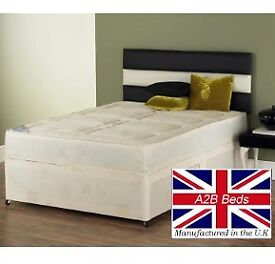 Big Promo Sale- Brand New Double Single & King Size Divan Bed With 10 Inch White Orthopedic Mattress
