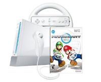 Wii console, mario kart game and accessories EUC