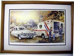 Framed auto and old service stations, shell, BA,White Rose ect.