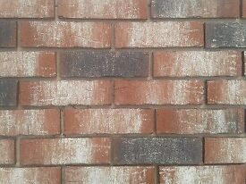 Brick tiles NF658 red/black white flamed