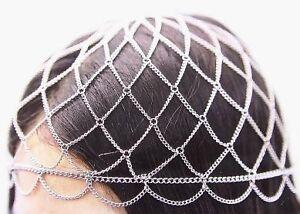 Silver-Fashion-Hat-Head-Metal-Chain-Hair-Net-Style-Body-Jewelry-Hair-Accessories