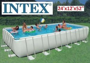 "NEW INTEX 24'x12'x52"" RECTANGULAR ULTRA FRAME POOL - 130024052 - RECTANGULAR STEEL ULTRA FRAME POOL SET"