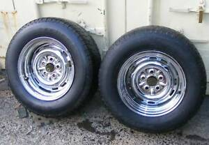 "2x Monaro HK HT HG Holden CHROMED WIDENED WHEELS 7"" Tyres trailer Mardi Wyong Area Preview"