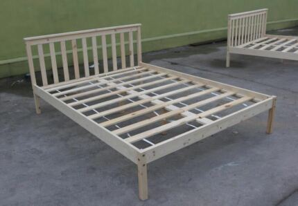 NEW Natural Pine Wood Wooden Bed Frame S/D/Q Child Adult Timber