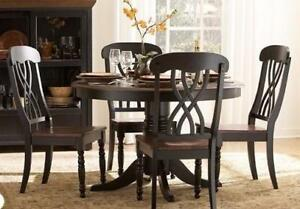 Solid Wood 5PC Round Table and Chair Set in a Solid Wood Antique Black and Cherry Finish Starting bid: $729.00 Regular R