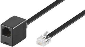 Modular Telephone extension cable black 3m RJ12 male 6P6C to RJ12 female 6P6C 3m