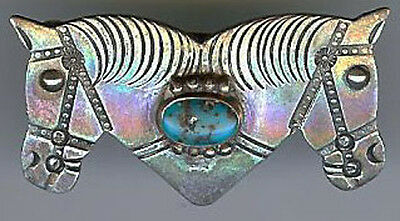 WONDERFUL VINTAGE NAVAJO INDIAN DOUBLE HORSE HEADS TURQUOISE PIN BROOCH*