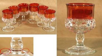 """INDIANA DEPRESSION GLASS CORDIALS KINGS CROWN THUMBPRINT  """"MINT""""  SET OF 6"""