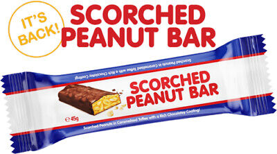 SCORCHED PEANUT BAR IS BACK - 15 BARS x 45g BEST BEFORE APR 2022  - FREE POST