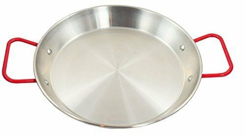 Stainless Steel Paella Pan with Red Handle