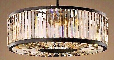 Crystal Drum (French Modern Crystal Drum Chandelier Restoration Hardware Welles STYLE Round 28)
