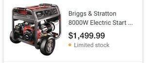 New Briggs Generator 10,000w paid $1700.  must sell/move to apt