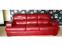 Red Ox Solid Leather 3 Seater and 2 Seater Sofas