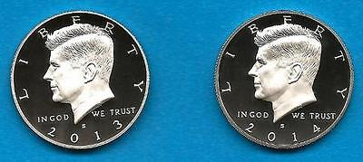 2013 S AND  2014 S PROOF KENNEDY HALF DOLLARS  TWO GEM PROOF COINS   IN STOCK