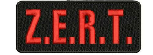 Z.E.R.T. unit embroidery patches  2x5 hook on back red