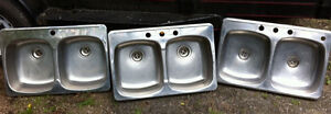 Various stainless steel double sinks for kitchen and others