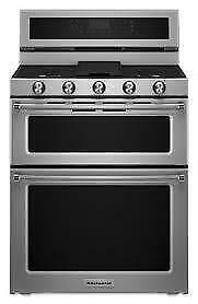 62-  NEUF - NEW  Four Cuisiniere Blanche KITCHEN AID 2 PORTES / 2 DOORS  Stove Oven