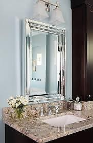 Frameless Stepped Mirrored Edge Beveled Bathroom Wall Mirror
