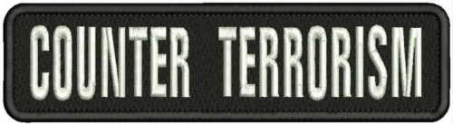COUNTER TERRORISM  Embroidery Patch 2X8  hook on back BLK/WHITE