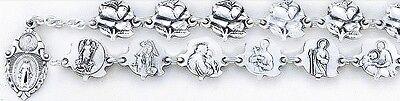 HMH Religious Sterling Silver Rose Patron Saint Bracelet w/Miraculous Scapular
