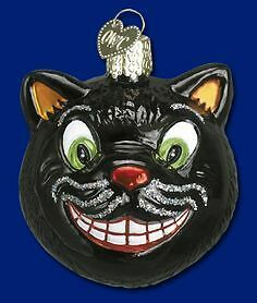 Old World Christmas Grinning Black Cat Ornament, New In Box