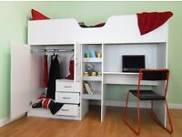 Single high sleeper cabin bed with storage desk and wardrobe