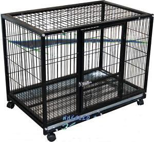 NEW-BIG-HUGE-DOG-CAT-RABBIT-MOUSE-ANIMAL-CAGE-KENNEL-TRAY-PEN-STRONG-STEEL-304