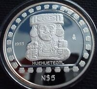 1993 1 oz Mexican Proof Silver/argent Huehueteotl  mintage : 800