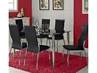 Black Glass Rectangle Table with 6 Faux Leather Chairs