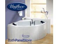 High gloss white bath panel for corner and offset baths