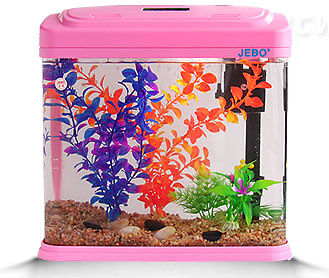 15L Glass Mini Enclosed Small Ecological System Gifts Aquarium/Fish Tank Pink &$