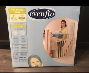 EVENFLO TOP OF STAIRS BABY GATE. Brand new!