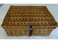 Traditional wicker picnic basket with four place settings - £30.00 ono