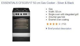 Essentials CFSGWH17 50cm Gas Cooker - Silver and Black