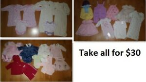 0-3 Mths Baby Girl Clothing Lot 1 (Take 28 Pieces for $30)