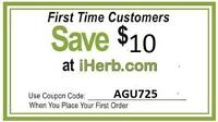 $10 Discount / Coupon code for IHERB.COM- Discount Code AGU725