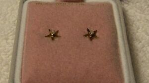 "10k Yellow Gold Diamond ""Star Earrings"" suitable for a Princess"