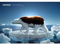 Fight Climate Change! Greenpeace UK - Street Fundraiser - £9ph plus bonus- 35hrs pw-Immediate start