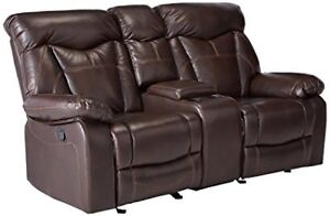 Leather reclining sofa with cup holders and storage