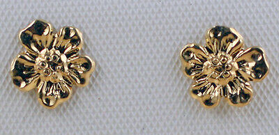 Childrens Solid 14K Yellow Gold 7mm Flower Rose Stud Earrings Screwbacks Baby 14k Yellow Gold Rose