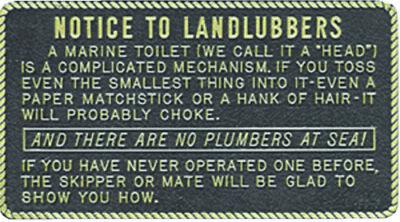 Boat Marine Notice To Landlubbers Plaque 3