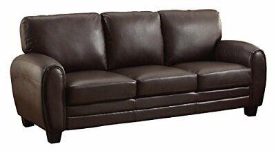"Homelegance Rubin 85"" Bonded Leather Sofa, Dark Brown Dark Brown Sofa"