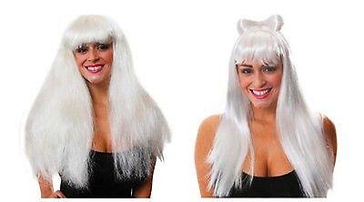 Weiß Perücke mit Schleife Hinzugefügt Volume Damen Halloween Kostüm Stil-Auswahl
