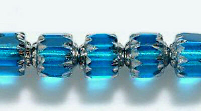 6mm Cathedral, Aqua Blue with Silver, Czech Glass, 25 fire polish beads