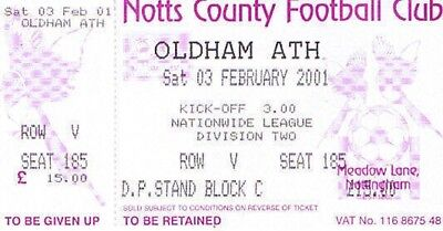 Ticket - Notts County v Oldham Athletic 03.02.01