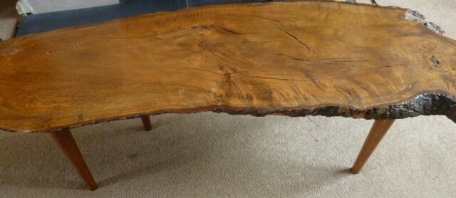 retro vintage 60's solid wood tree slice plank coffee table mid