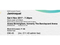3 x tickets for Jamiroquai in Birmingham on Sat 4 November